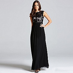 Little Mistress - Black floral flock maxi dress