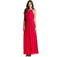 Little Mistress - Hot pink one shoulder drape maxi dress