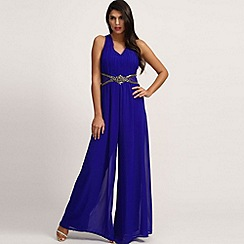 Little Mistress - Blue Embellished Cross Back Jumpsuit