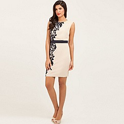Little Mistress - Cream and navy floral flock bodycon dress