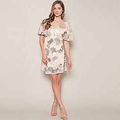 Little Mistress - Cream heavily embellished floral dress
