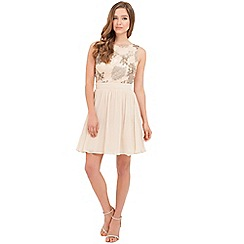Little Mistress - Cream heavilyembellished fit and flare dress