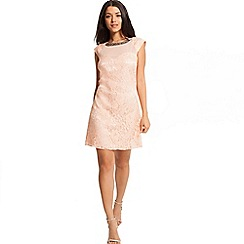 Little Mistress - Peach floral lace embellished shift dress