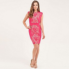 Little Mistress - Magenta floral lace bodycon dress
