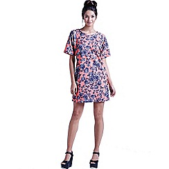 Girls On Film - Coral texured floral tunic dress