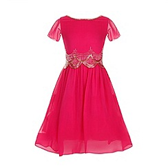 Little Misdress - Pink embellished scallop hem dress