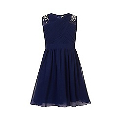 Little Misdress - Navy embellished shoulder dress