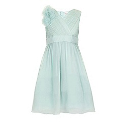 Little Misdress - Sage chiffon shoulder detail party dress