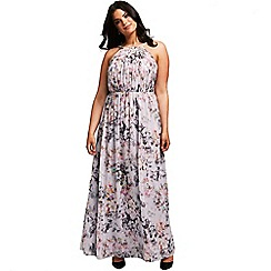 Little Mistress - Grey blurred floral print maxi dress