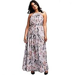 Little Mistress - Grey blurred floral print maxi dress