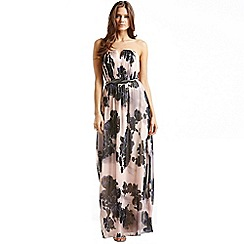 Little Mistress - Nude and navy floral maxi dress