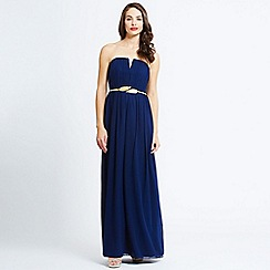Little Mistress - Navy pleated chiffon maxi dress