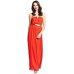 Little Mistress - Orange pleated chiffon maxi dress