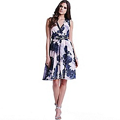 Little Mistress - Nude and navy floral v neck dress