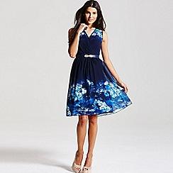 Little Mistress - Blue floral crossover dress