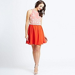 Little Mistress - Orange fit and flare dress