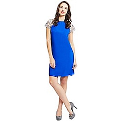 Little Mistress - Blue embroidered shoulder dress
