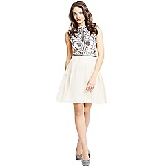 Little Mistress - Cream heavily embellished fit and flare dress