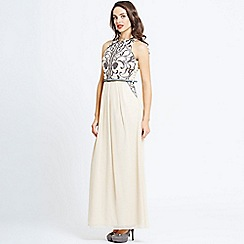 Little Mistress - Cream heavily embellished maxi dress
