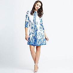 Little Mistress - Blue and white floral tunic dress