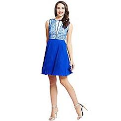 Little Mistress - Blue Fit and Flare Mesh Insert Dress