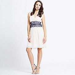 Little Mistress - Nude v neck chiffon mirrored lace dress