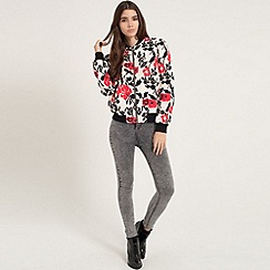 Girls On Film - Monochrome and red floral bomber jacket