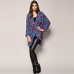 Girls On Film - Blue bold floral jacket