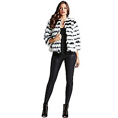 Little Mistress - Black and white cropped faux fur jacket