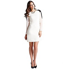 Little Mistress - Cream lace shoulder long sleeve tunic dress