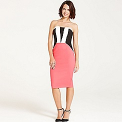 Paper Dolls - Coral, black and white stripe front dress