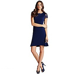 Little Mistress - Navy lace sleeve trim dress