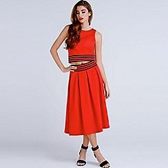 Girls On Film - Red a-line stripe trim skirt