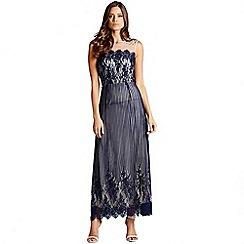 Little Mistress - Blue stripe lace layered maxi dress