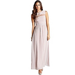 Little Mistress - Nude flower embroidered chiffon maxi dress
