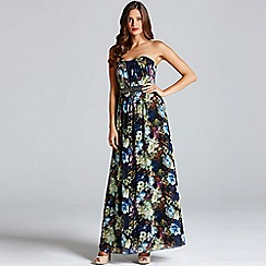 Little Mistress - Painted floral chiffon bandeau maxi dress