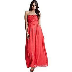 Little Mistress - Coral lace bust strapless dress