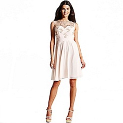 Laced In Love - Nude mesh overlay prom dress