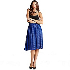 Little Mistress - Blue chevron midi skirt