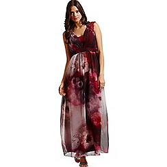 Little Mistress - Berry watercolour lace shoulder maxi dress