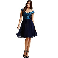 Little Mistress - Blue watercolour bardot prom dress