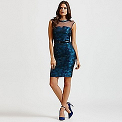 Little Mistress - Blue watercolour belted wiggle dress