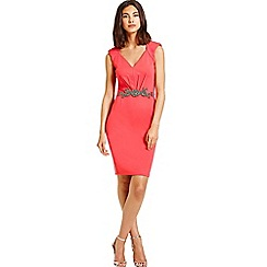 Little Mistress - Hot coral embellished waist v neck bodycon dress
