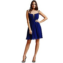 Little Mistress - Blue mesh insert fit and flare dress