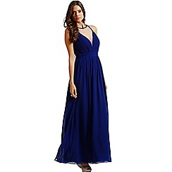 Little Mistress - Blue chiffon mesh front maxi dress