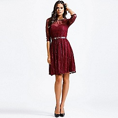 Little Mistress - Raspberry lace overlay long sleeve dress