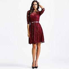 Little Mistress - Raspberry lace overlay long sleeve dress