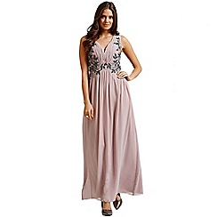 Little Mistress - Cream chiffon leaf embellished maxi dress
