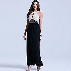 Little Mistress - Black and white embellished maxi dress