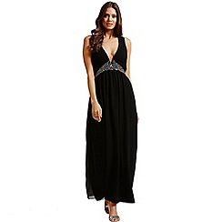 Little Mistress - Black chiffon embellished maxi dress
